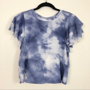 Cloud Tie Dye Cropped Ruffle Sleeve Top